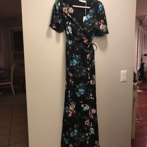 LUSH black floral wrap dress new small
